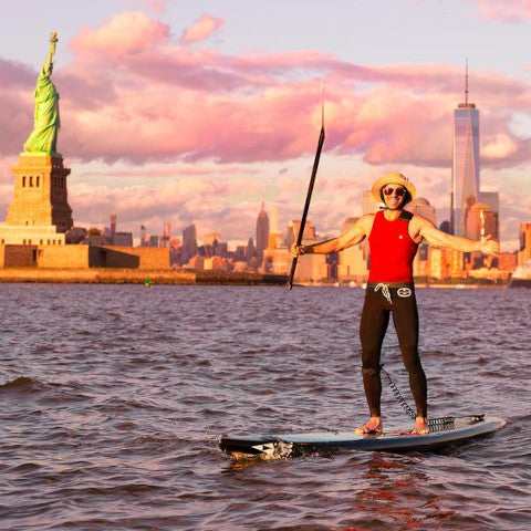 man doing stand up paddle in neoprene wetsuit