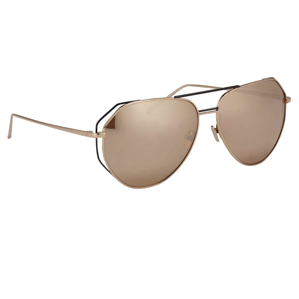7781ee973c2 351-Rose Gold   Rose Gold Lens Angular Aviator Sunglasses