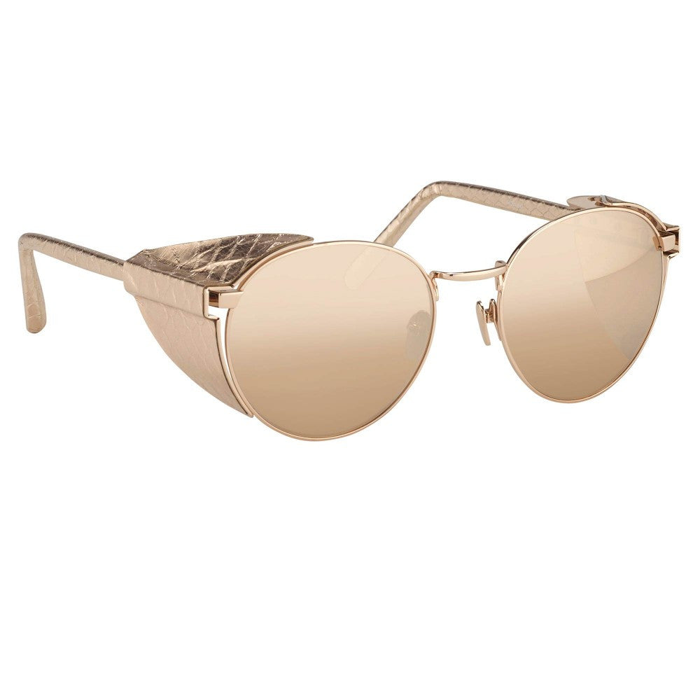 a3df76717a43 300-Rose Gold Snakeskin   Rose Gold Lens Round Blinkers Sunglasses