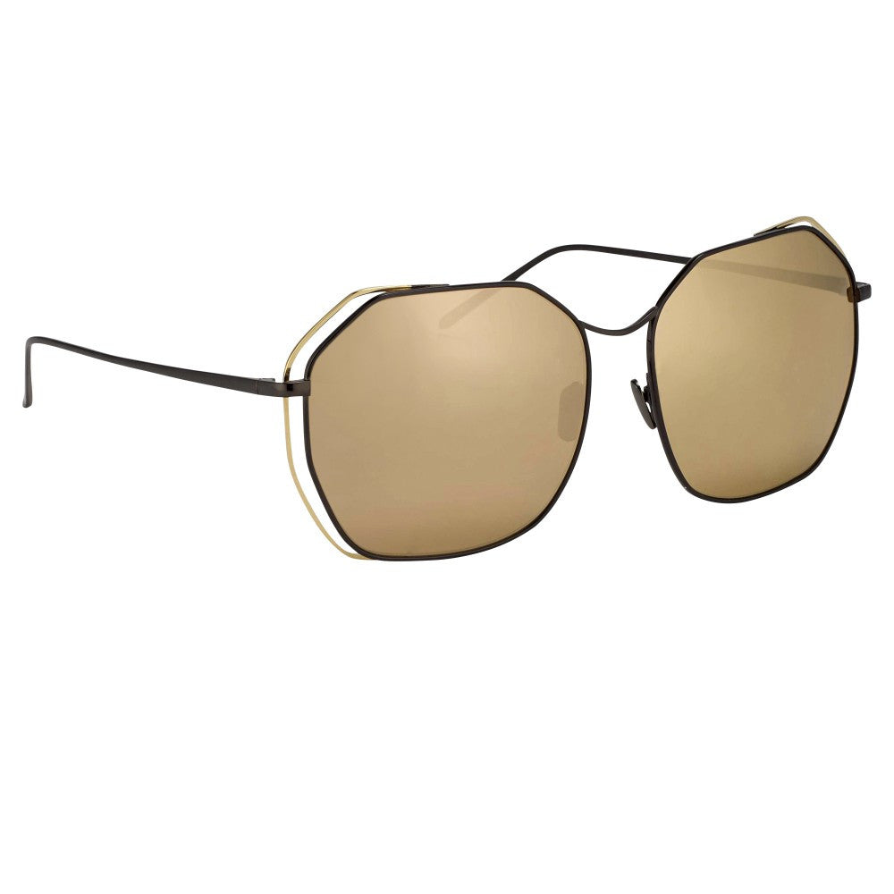 9ac2a455e45 350-Nickel   Gold Lens Oversized Angular Sunglasses
