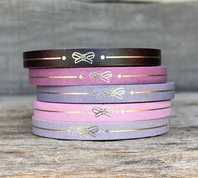 WASHI TAPE 5mm Simple Line Lola Bow - Set of 5