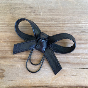 LOLA BOW Black Stitched Faux Leather Bow Paperclip