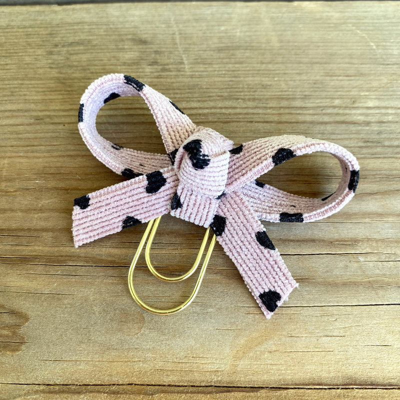 LOLA BOW Light Mauve Heart Print Corduroy Bow Paperclip