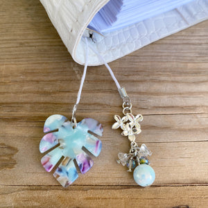PLANNER TAIL or BOOKMARK Blue Monstera Leaf Charm