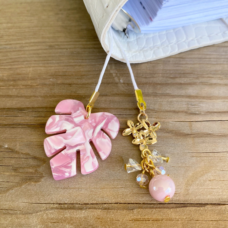 PLANNER TAIL or BOOKMARK Pink Monstera Leaf Charm
