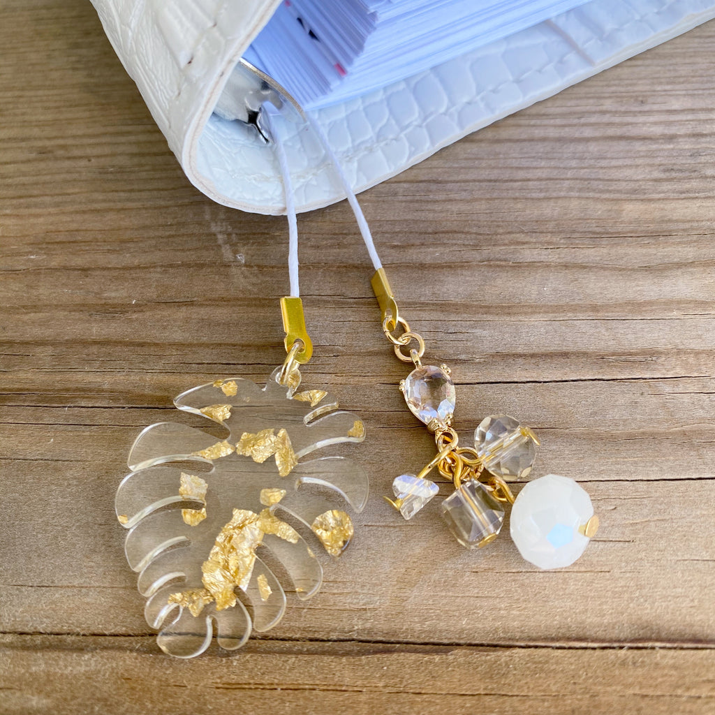 PLANNER TAIL or BOOKMARK Gold Flake Monstera Leaf Charm