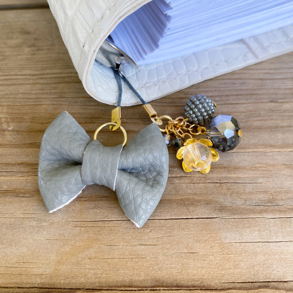 PLANNER TAIL or BOOKMARK MINI BOW Grey Bow