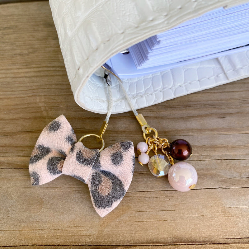 PLANNER TAIL or BOOKMARK MINI BOW Blush Leopard Bow