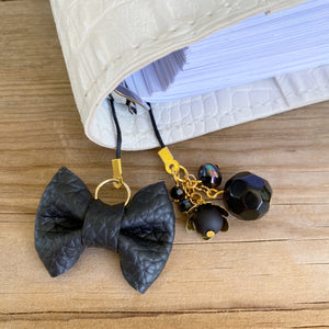 PLANNER TAIL or BOOKMARK LILY BOW Black Bow