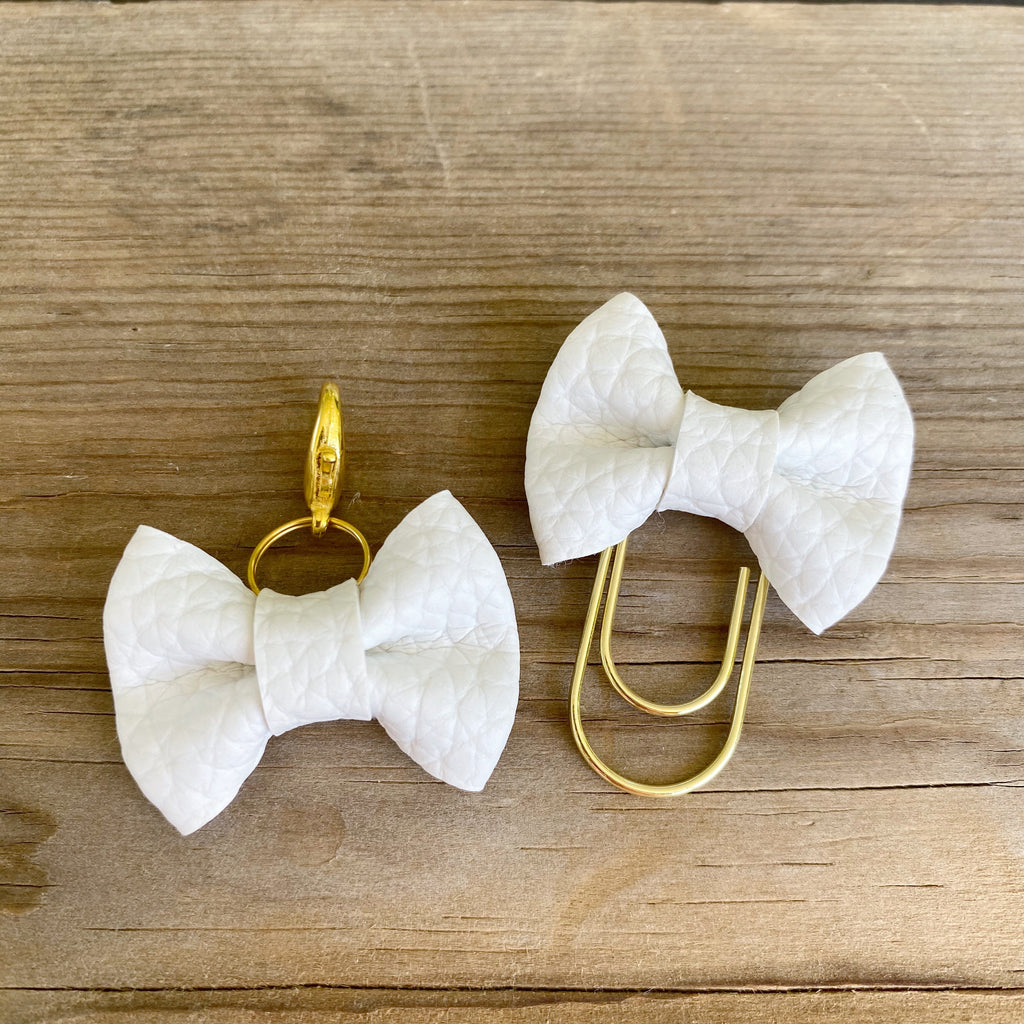 MINI BOW Soft White Bow Paperclip or Bow Clasp