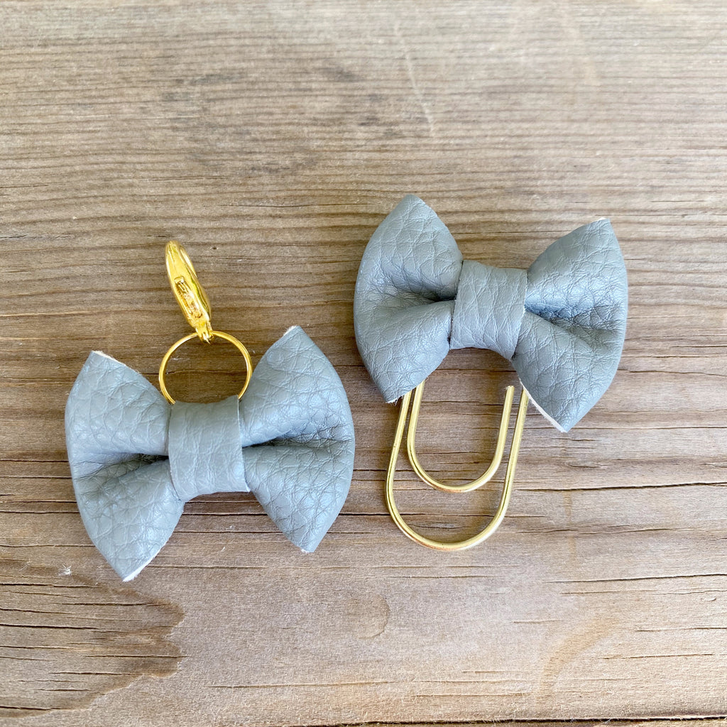 MINI BOW Grey Bow Paperclip or Bow Clasp