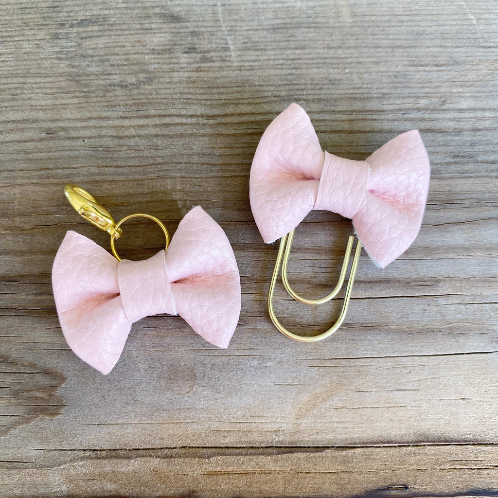 MINI BOW Blush Bow Paperclip or Bow Clasp