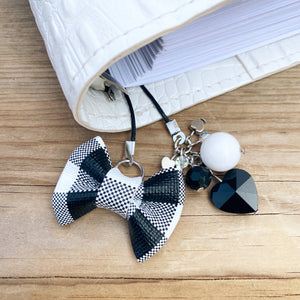 PLANNER TAIL or BOOKMARK MINI BOW White Buffalo Check Bow