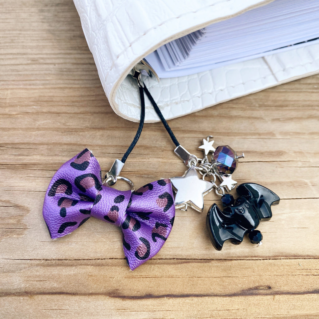 PLANNER TAIL or BOOKMARK MINI BOW Purple Leopard Bow