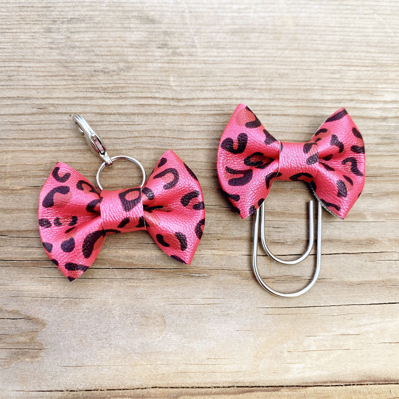 LILY BOW Red Leopard Bow Paperclip or Bow Clasp
