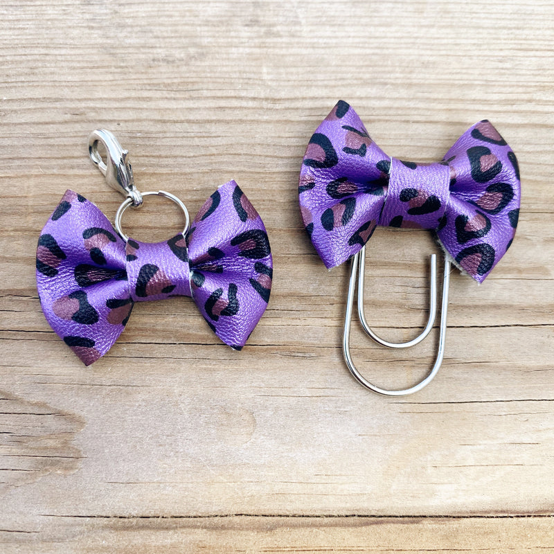 MINI BOW Purple Leopard Bow Paperclip or Bow Clasp