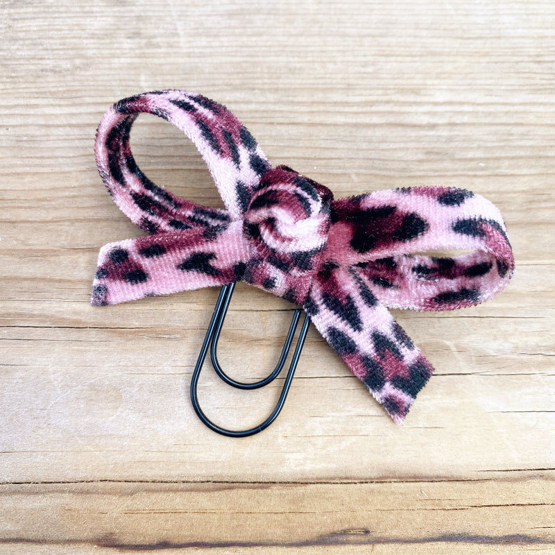 LOLA BOW Pink Velvet Leopard Bow Paperclip