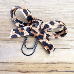 LOLA BOW Brown Velvet Leopard Bow Paperclip