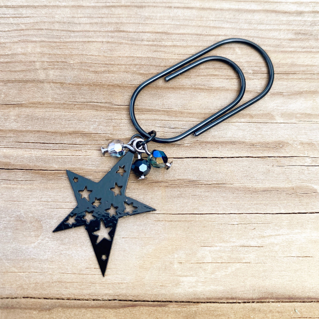 CHARM DANGLE Black Star Paperclip