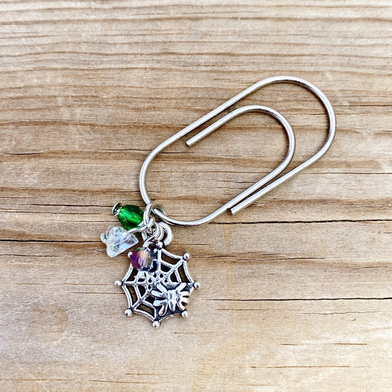 CHARM DANGLE Tiny Spider Web Paperclip