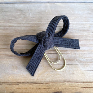LOLA BOW Charcoal Black Corduroy Bow Paperclip