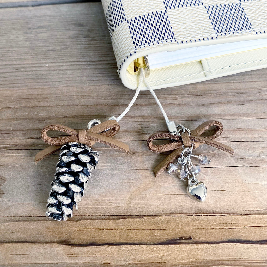 PLANNER TAIL or BOOKMARK LARGE Silver Pine Cone Charm