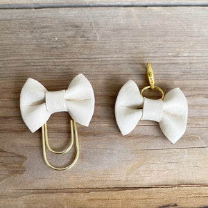 LILY BOW Vanilla Creme Bow Paperclip or Bow Clasp