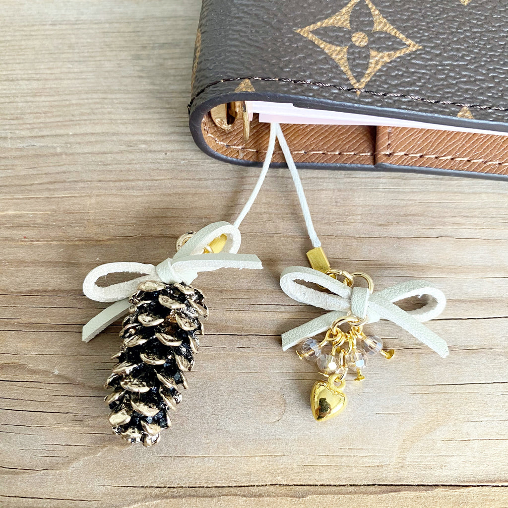 PLANNER TAIL or BOOKMARK LARGE Gold Pine Cone Charm