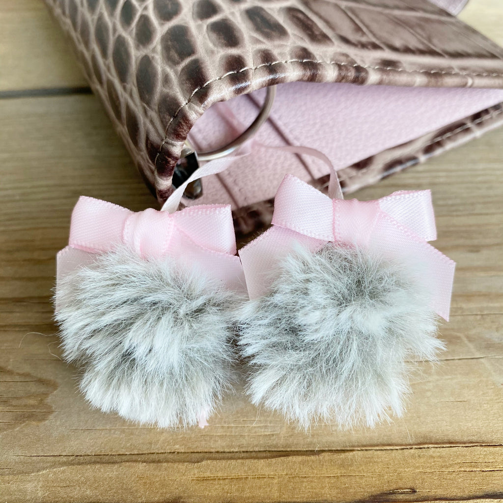 PLANNER TAIL or BOOKMARK Chinchilla Puffy Faux Fur Pom