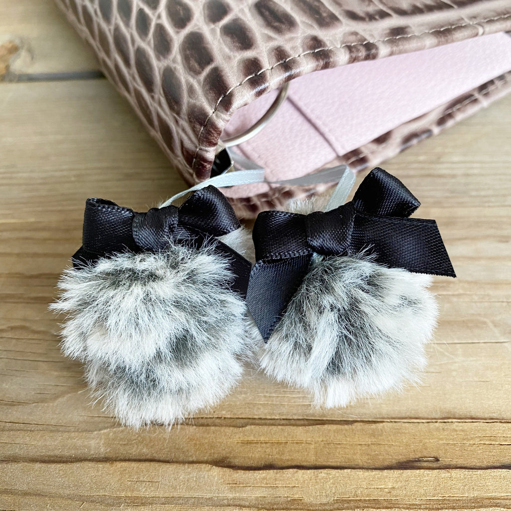PLANNER TAIL or BOOKMARK Grey Wolf Puffy Faux Fur Pom