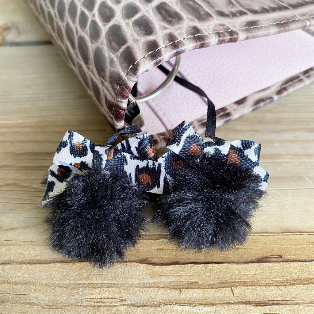 PLANNER TAIL or BOOKMARK Black Puffy Faux Fur Pom