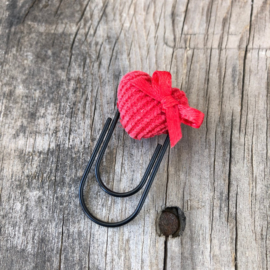 BUTTON POP Red Corduroy Heart Button with Bow Paperclip