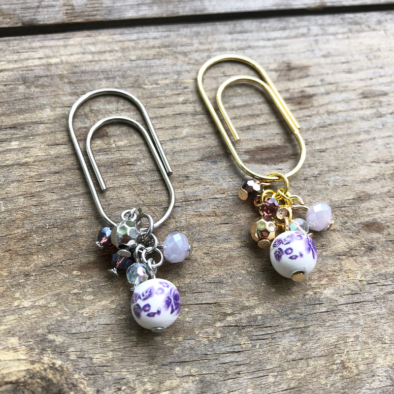 CHARM DANGLE Purple Floral Ceramic Bead Paperclip