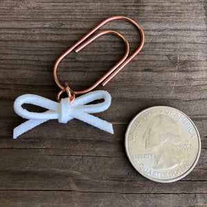 LEATHER BOW DANGLE White Suede Leather Bow Paperclip