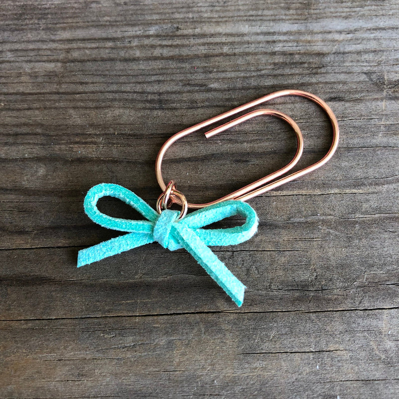LEATHER BOW DANGLE Mint Green Suede Leather Paperclip