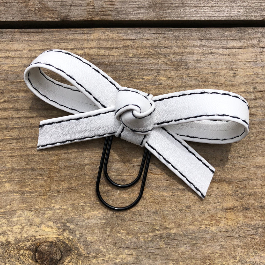 LOLA BOW White with Black Stitching Faux Leather Bow Paperclip