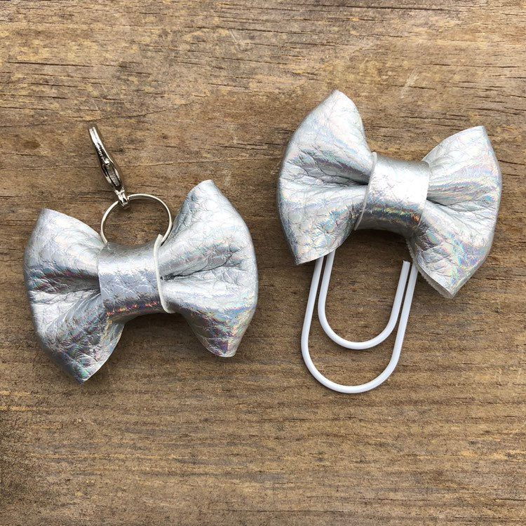 MINI BOW Holo Silver Bow Paperclip or Bow Clasp
