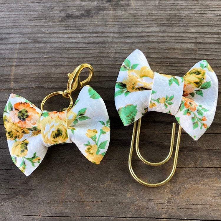 MINI BOW Yellow Floral Bow Paperclip or Bow Clasp