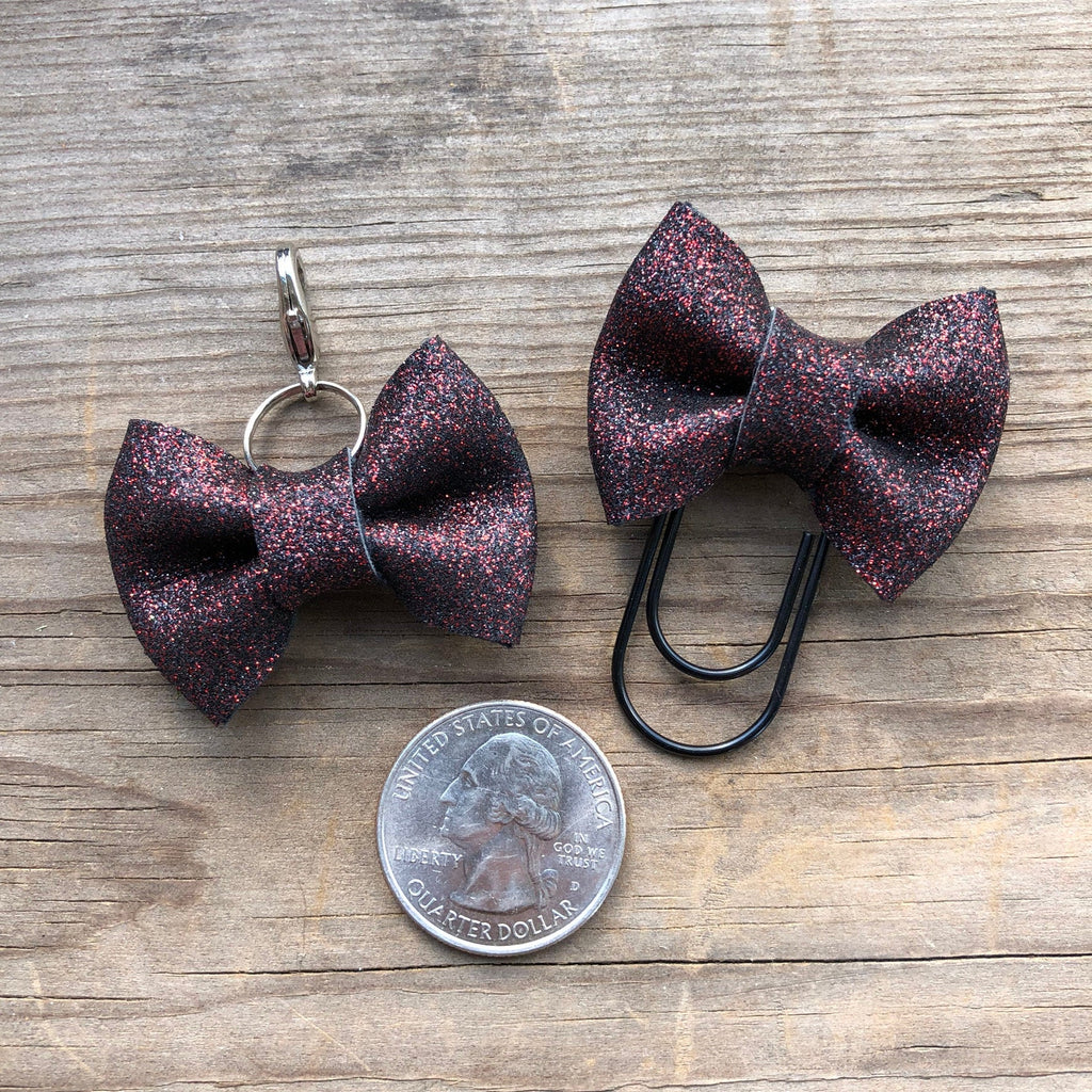 MINI BOW Red Glitter Bow Paperclip or Bow Clasp