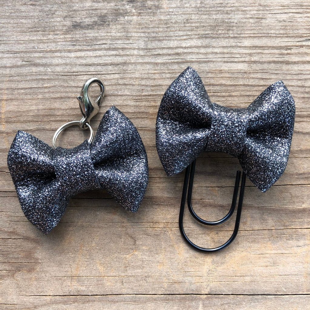 MINI BOW Black Glitter Bow Paperclip or Bow Clasp