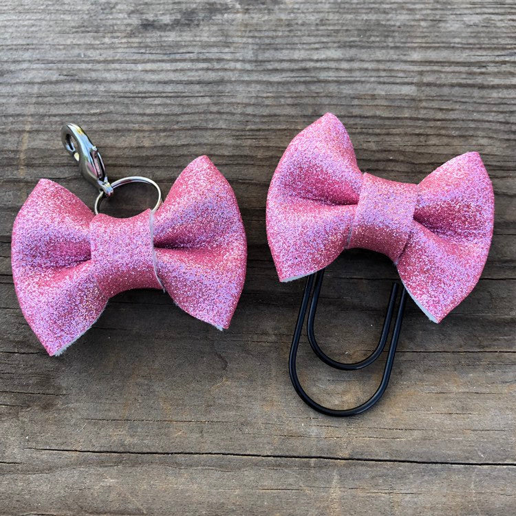 MINI BOW Pink Glitter Bow Paperclip or Bow Clasp
