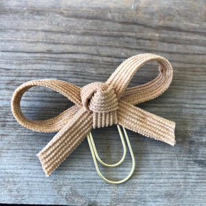 LOLA BOW Camel Corduroy Bow Paperclip