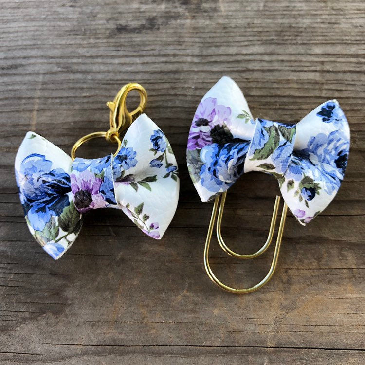 MINI BOW Blue Purple Floral Bow Paperclip or Bow Clasp