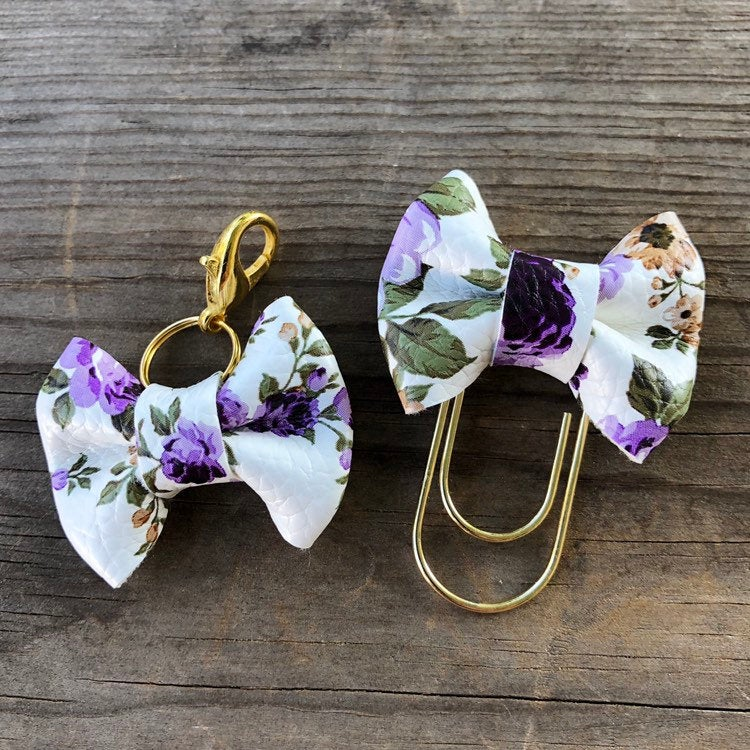 MINI BOW Purple Floral Bow Paperclip or Bow Clasp