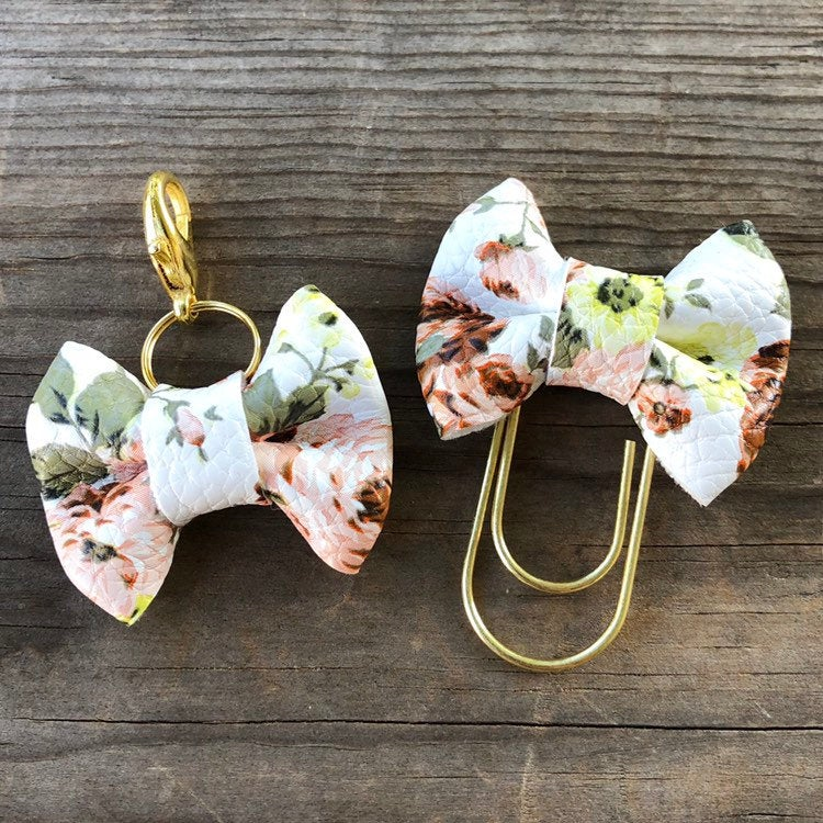 MINI BOW Blush Brown Floral Bow Paperclip or Bow Clasp