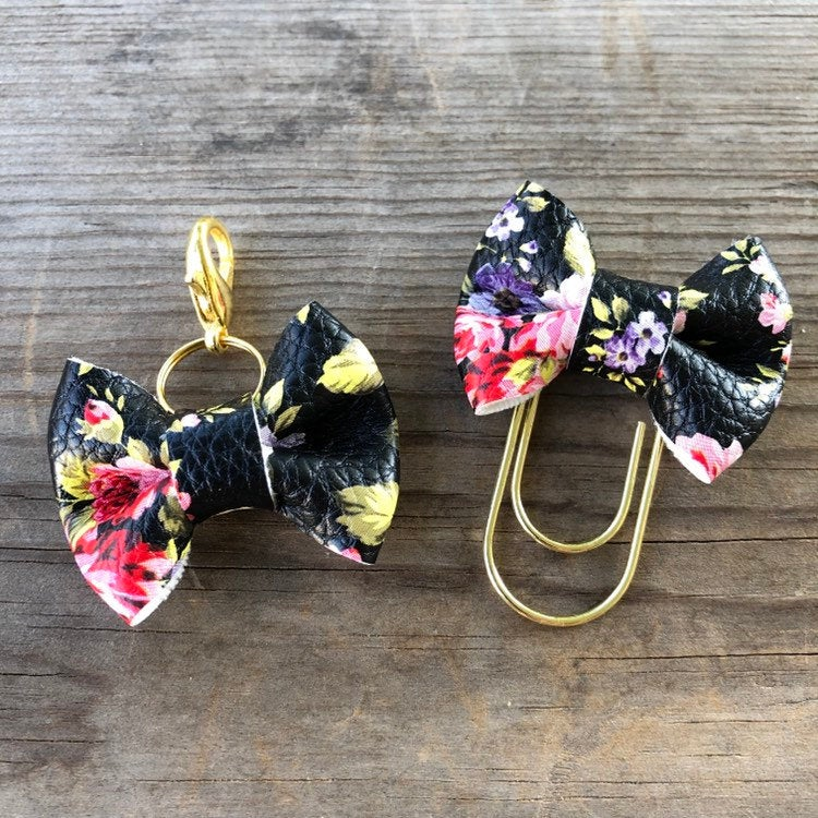 MINI BOW Black Pink Purple Floral Bow Paperclip or Bow Clasp