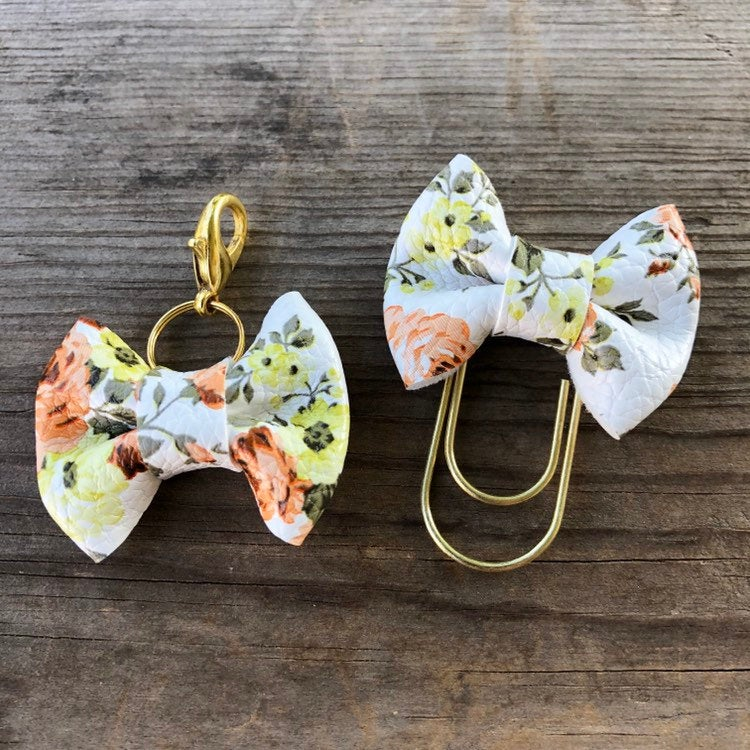 MINI BOW Yellow Brown Floral Bow Paperclip or Bow Clasp