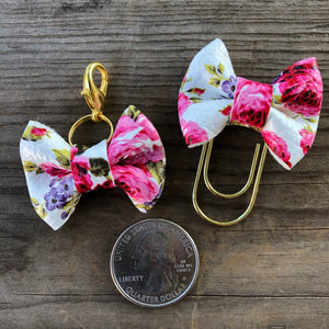 MINI BOW White Pink Purple Floral Bow Paperclip or Bow Clasp