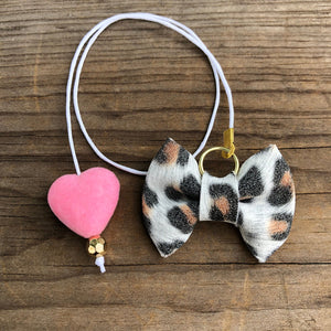 PLANNER TAIL or BOOKMARK LILY BOW White Leopard with Pink Velvet Heart