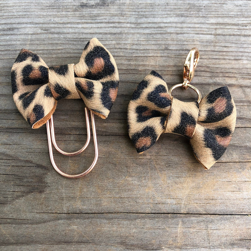 MINI BOW Tan Leopard Bow Paperclip or Bow Charm